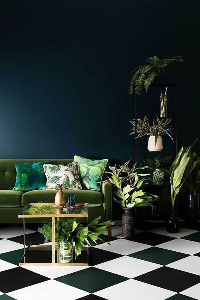Chequered floor tiles & greenery