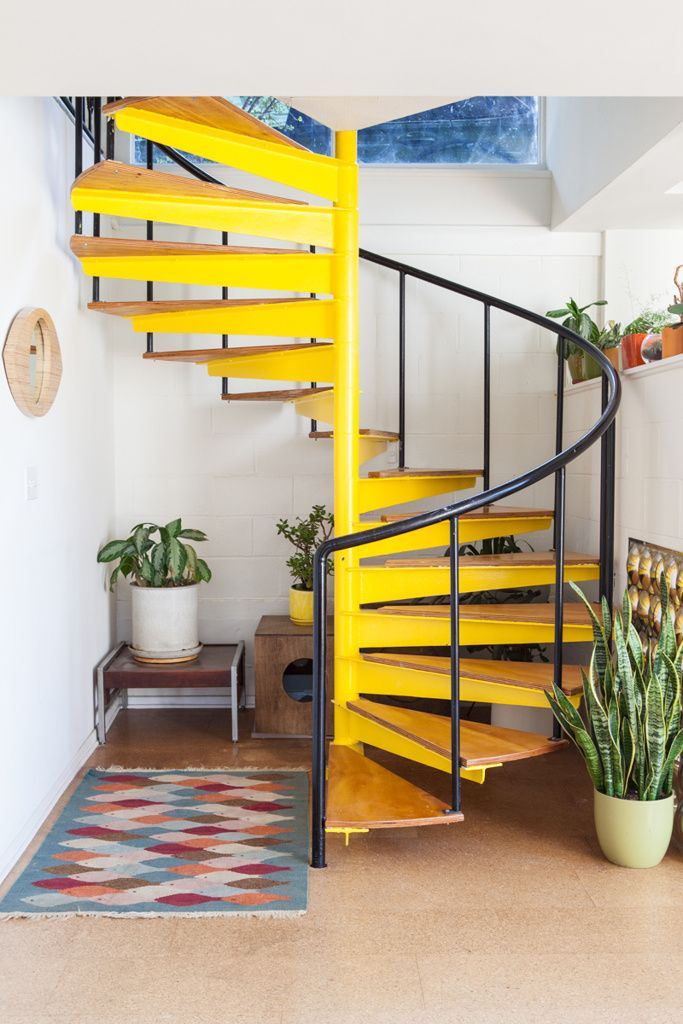 Staircase painted yellow