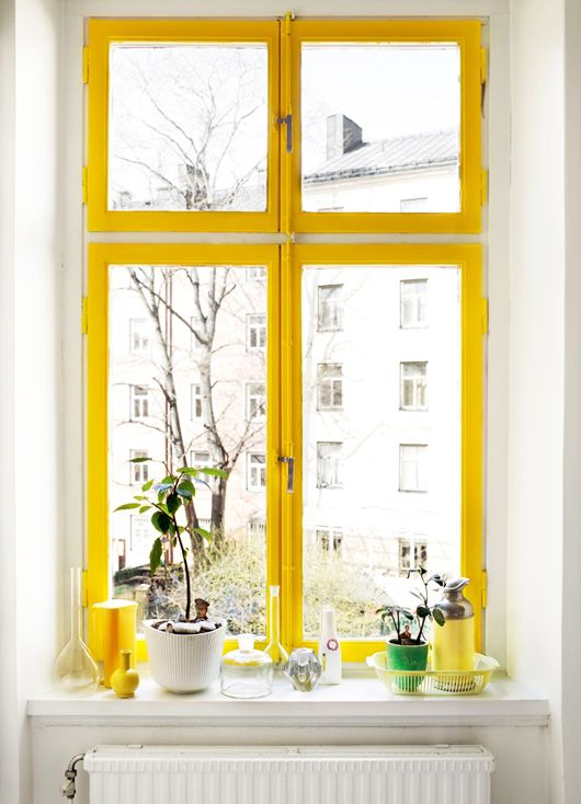Yellow framed window